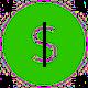 Green fundraising dollar sign